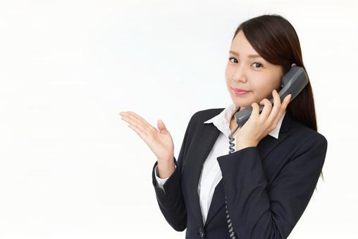 Business woman telephone response
