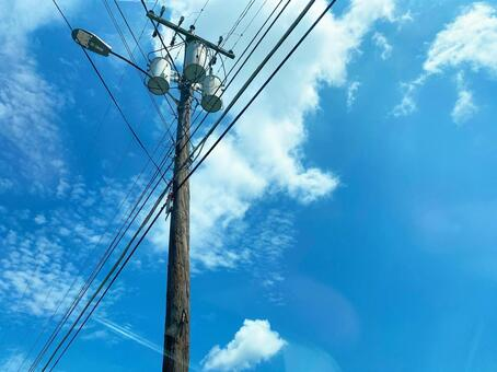 Wooden utility pole and blue sky