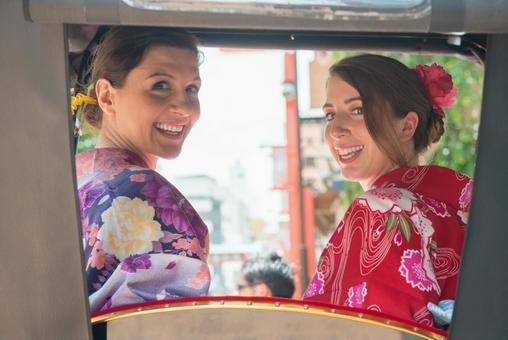 Women's Yukata rode rickshaw women Foreign tourists 25