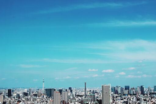 City view 4 Tokyo emerald green sky