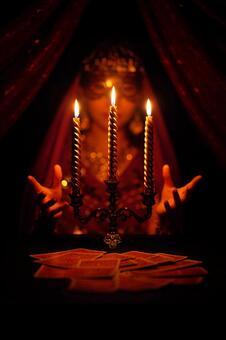 Female fortune teller doing card fortune telling