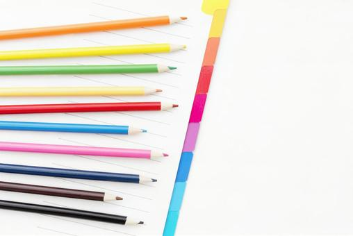 Colorful colored pencil and index