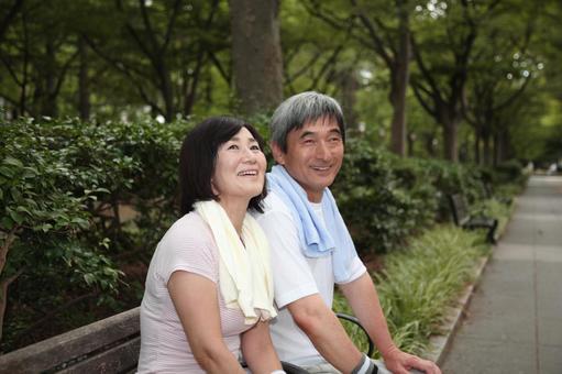 An old couple taking a break 2