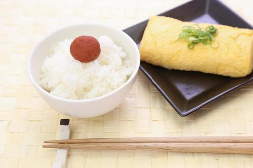 White rice cooked and Umeboshi and fried eggs