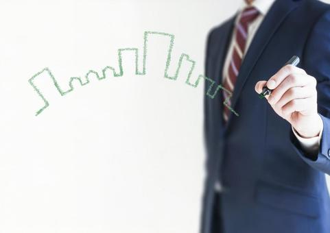 A businessman with a building illustration and a pen