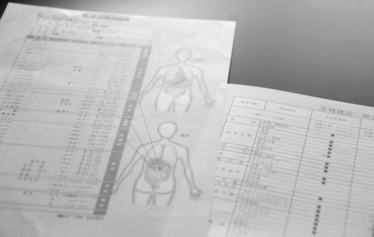 Health checkup table monochrome