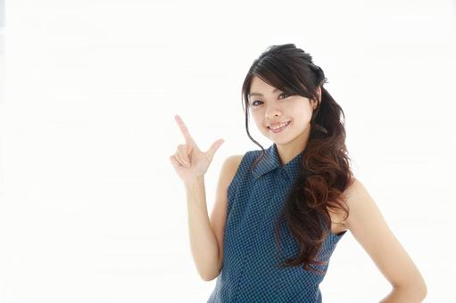 A Japanese female pointing to a finger 5