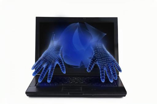 컴퓨터에서 튀어 손