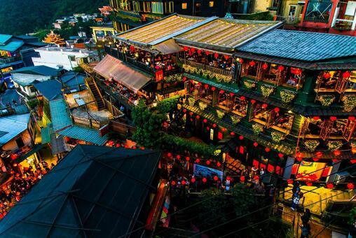 Night skyline in Taiwan's Chiufen