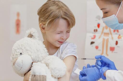 Girl hitting an injection