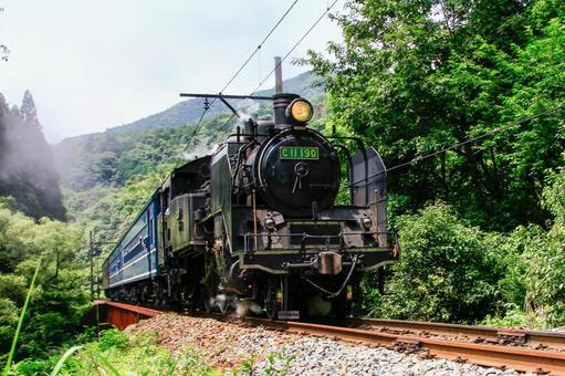Steam locomotive running on Okui