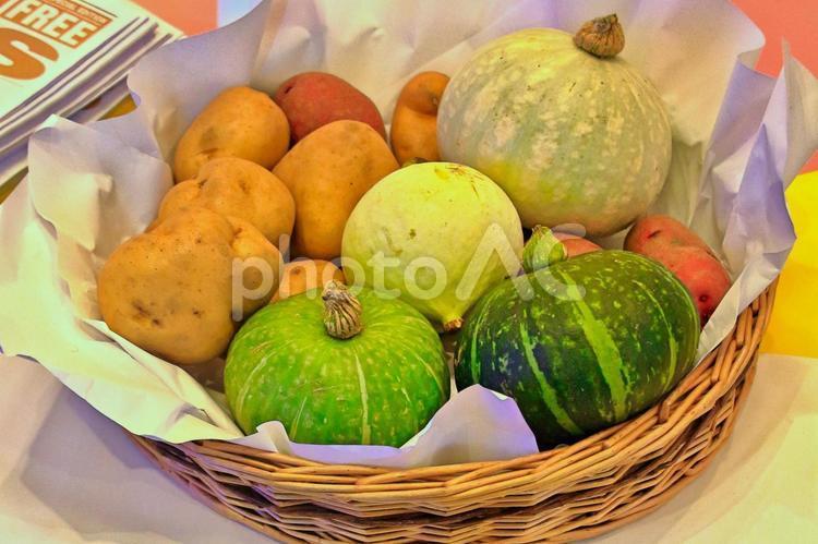 秋のとれたて野菜の写真