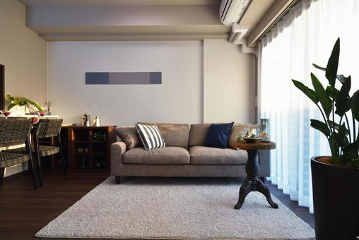 Living dining with a large living sofa