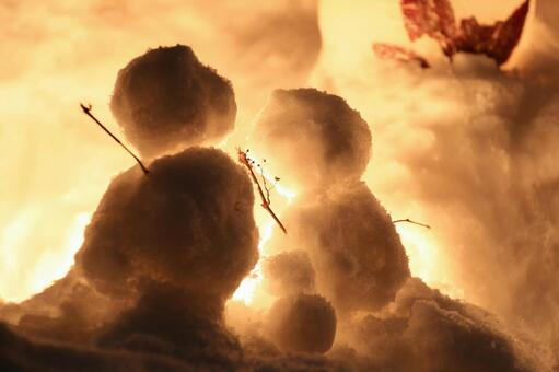Snowman of three people family