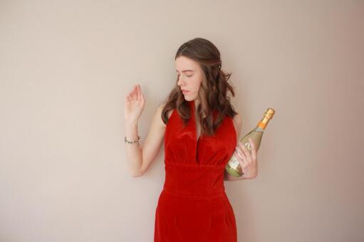 用香槟酒瓶1女