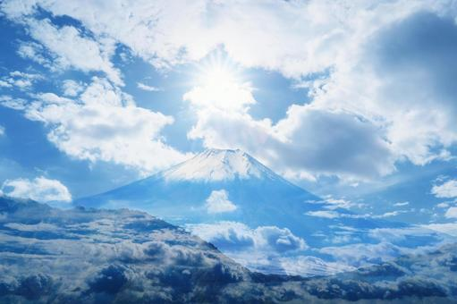 Mount Fuji, the sea of clouds and sunlight