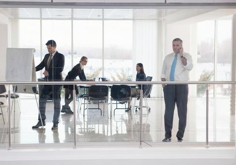 Business team 8 in a glass-enclosed meeting room 8