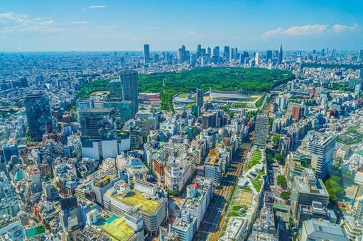 Cityscape of Shinjuku from Shibuya Sky Observatory