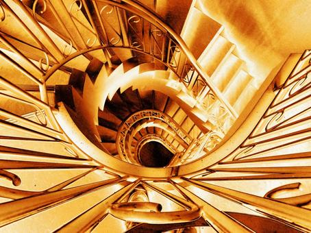 Spiral staircase gold