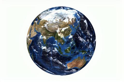 Japan-centered earth and white background