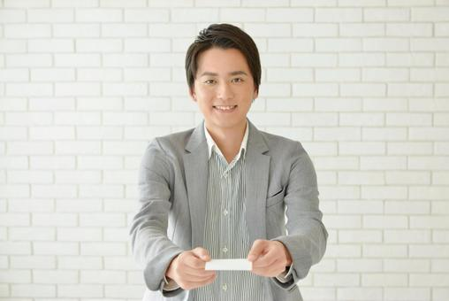 Male having a business card 5