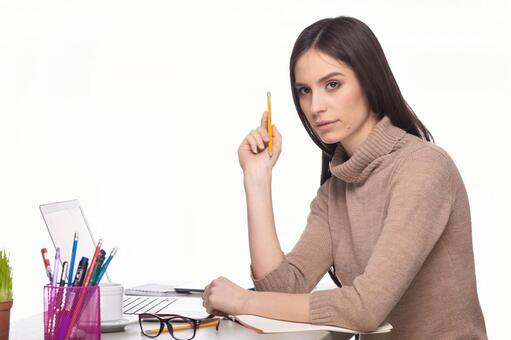 Female with writing instrument 2