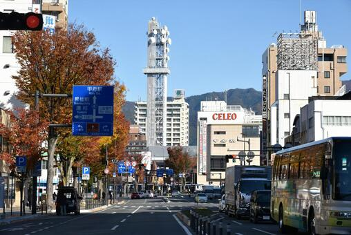 Cityscape at the south exit of Kofu Station