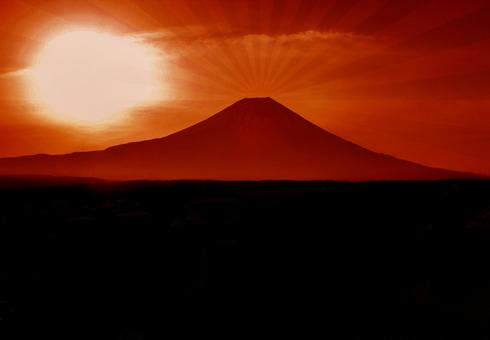Beautiful red silhouette of Mt. Fuji and the sun