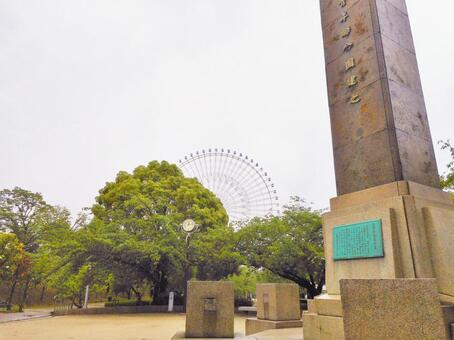 See the Ferris wheel from Tempozan Park