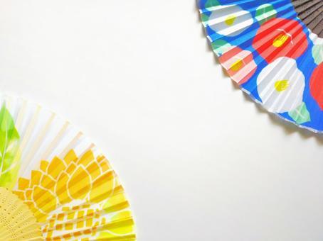 Flower handle fan and wind background フレーム