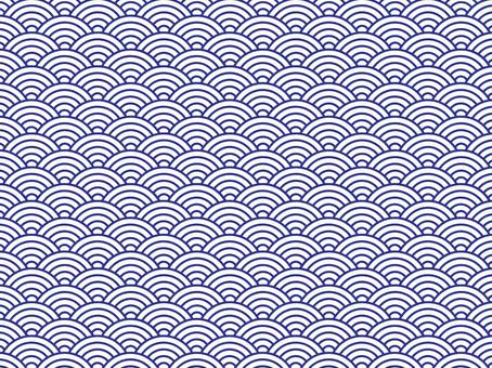 Japanese Pattern Texture Qinghai Wave White Line with Blue Line