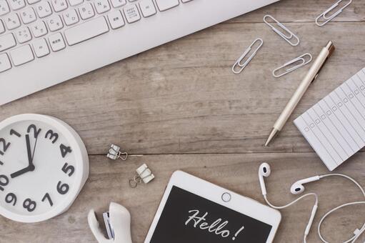 White accessories on the desk