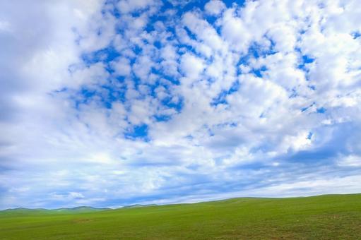 Mongolian blue sky and prairie