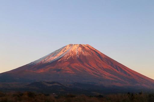 Red Fuji seen from Fujikawaguchiko Town