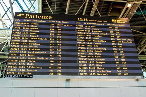 Airport airport bulletin board