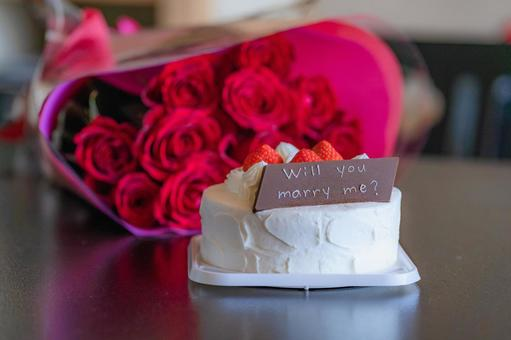 will you marry me shortcake with chocolate plate and 12 roses