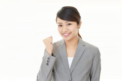 Female business woman guts pose