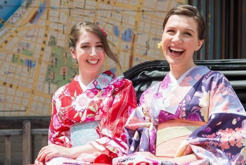 Women's Yukata rode rickshaw women Foreign tourists 20