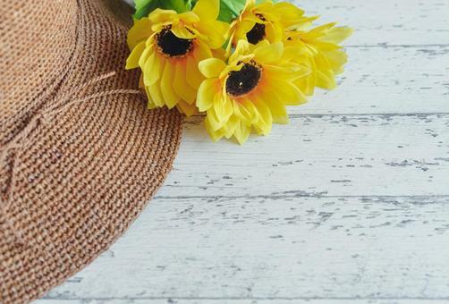 Sunflower and hat bird's-eye view