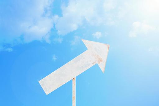 Image of rising up and moving forward Arrow signboard Blue sky Back material