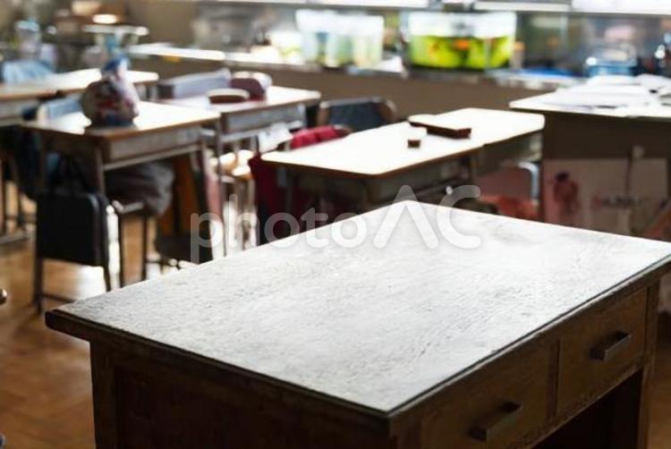 日本の小学校の教壇と生徒の机の写真