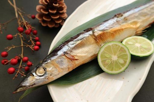 Grilled autumn fish