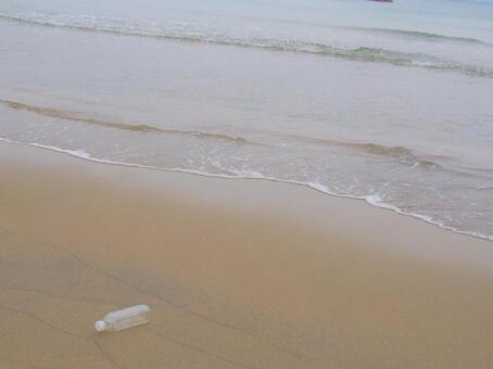 PET bottle of sandy beach