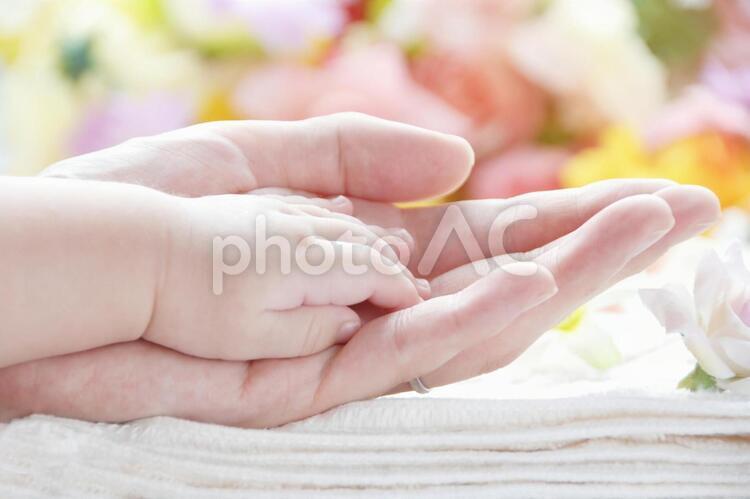母と赤ちゃんの手の写真