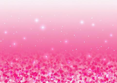 Lame-like pentagon and glitter background material (pink)
