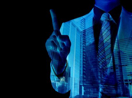 Man pointing to business point-black background