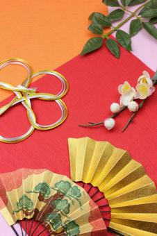 Folding fan, Mizuhiki and plum