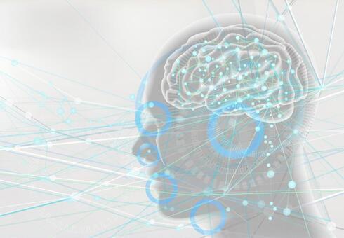 인공 지능 AI와 오감의 전달 이미지 - 흰색 배경