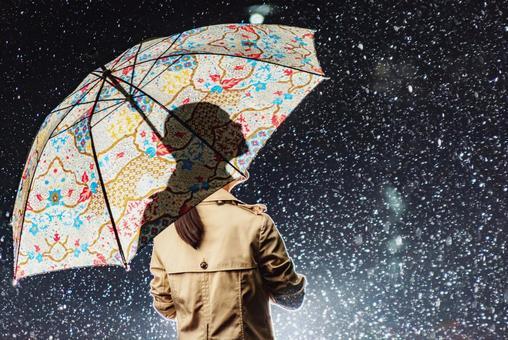 Woman and night rain