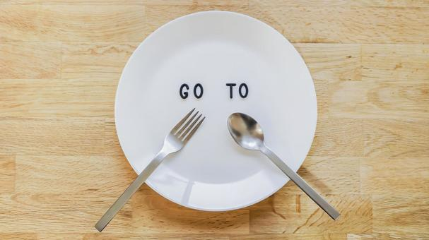 GO TO EAT 10 Image material (wood grain background, plate center, ground)